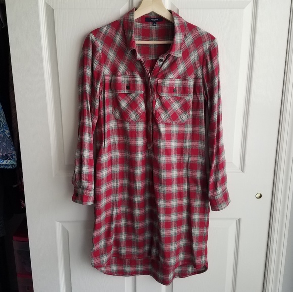 Madewell Dresses & Skirts - Madewell Red Flannel Daywalk Shirt Dress Size XS